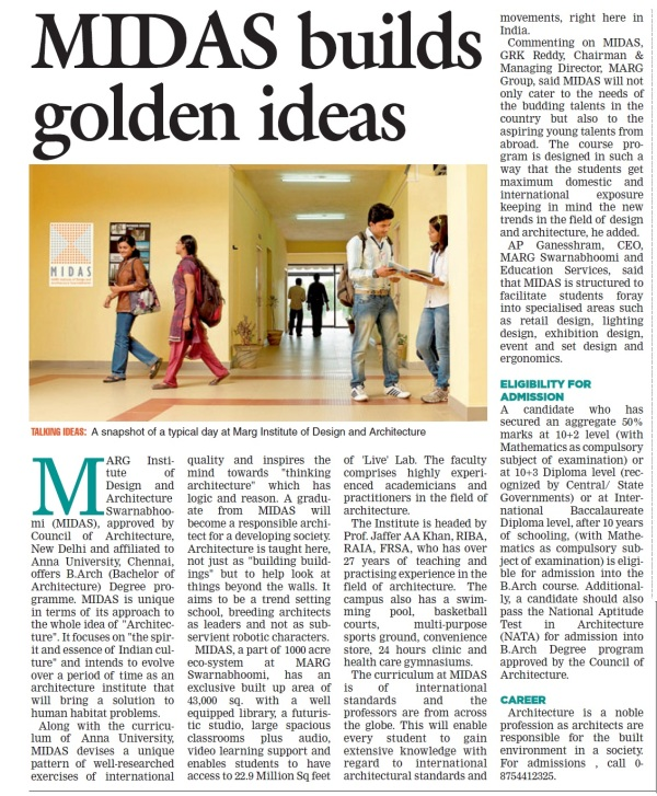 MIDAS,marg swarnabhoomi,marg institute of design and architecture,architecture college,