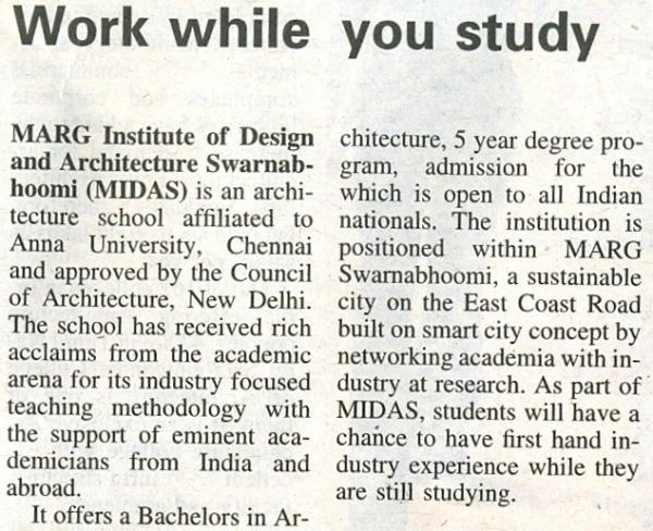 MIDAS,marg swarnabhoomi,marg institute of design and architecture,work while you study
