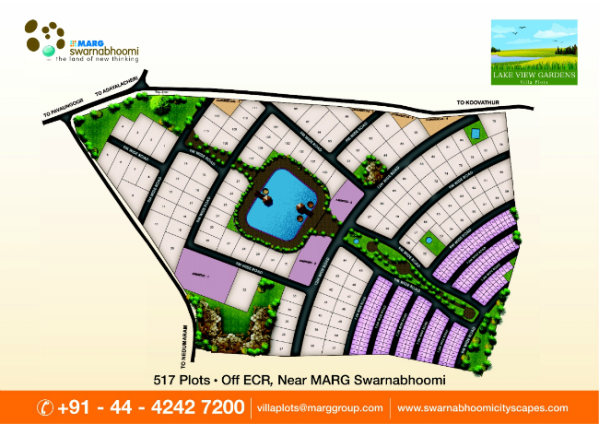 Lake view villa plots from swarnabhoomi cityscapes for Layout garden plots